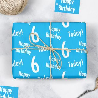 6th Birthday Blue Gift Wrapping Paper & Gift Tags (1 Sheet & 2 Tags) - 'Happy Birthday' - '6 Today!'